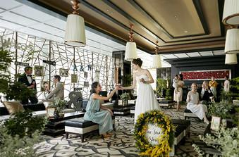 高級リゾートをイメージした待ち合いスペースはゲストもゆったり寛げる