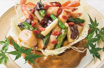 すり身包みズワイ蟹と帆立貝のソテー