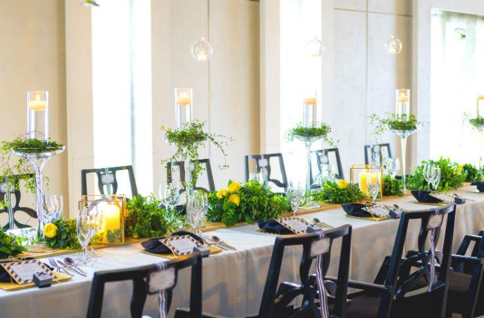 スタイリッシュなテーブルコーディネートも魅力。