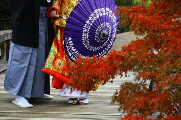 紅葉の中を傘を持って歩く新郎新婦